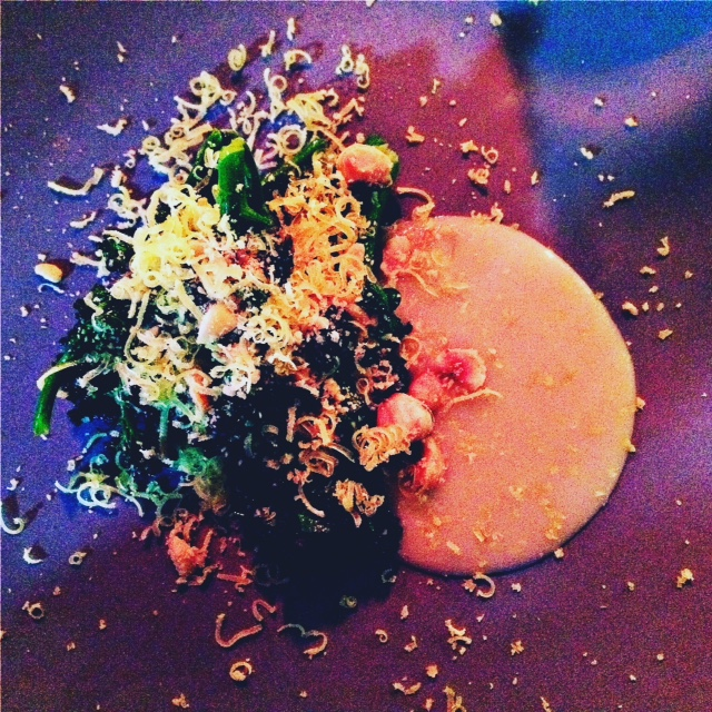 Purple Sprouting Broccoli, Hazelnuts, Cured Egg Yolk