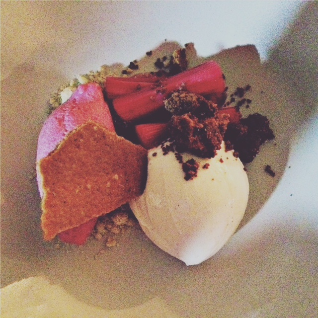 Rhubarb, Buttermilk Pudding, White Chocolate, Oats
